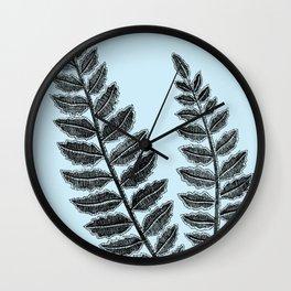Black Lace Fern Powder Blue Wall Clock