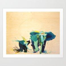 2 Elephants Art Print