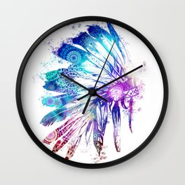mandala colorful headdress Wall Clock
