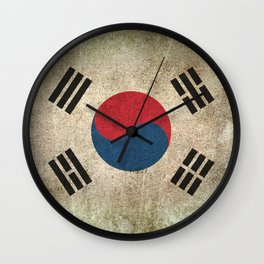 Old and Worn Distressed Vintage Flag of South Korea Wall Clock