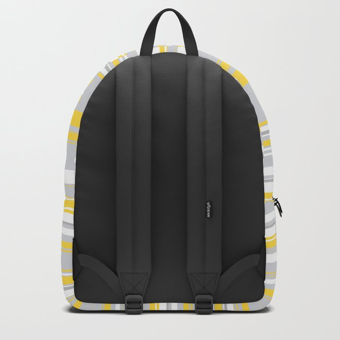 Mosaic Rectangles in Yellow Gray White #design #society6 #artprints Backpack