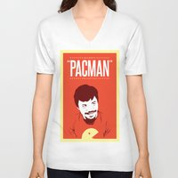 pacman V-neck T-shirts featuring Pacman by Yo Jimbo