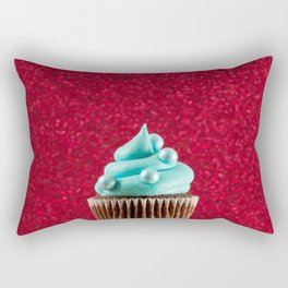 Cupcake Love - Blue Pearls on Red Sparkle Rectangular Pillow