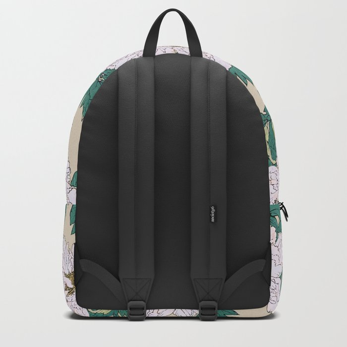 White Peonies Backpack