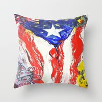 puerto rico Throw Pillows featuring Puerto Rico by Joel Gonzalez