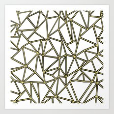 Ab Blocks White Gold Art Print