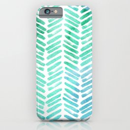 Handpainted Chevron pattern - light green and aqua - stripes iPhone Case