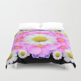 Ebony Black  Color Shasta Daisys & Rose Pattern Garden Art Duvet Cover