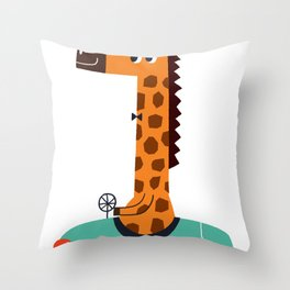 giraffe driver Throw Pillow