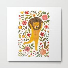 Little Lion King. Cute lion hand painted in gouache. Cute and fun animal. Wild animals illustration for home decor Metal Print