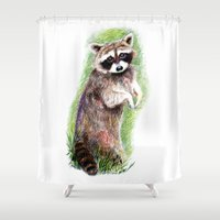 raccoon Shower Curtains featuring Raccoon by Anna Shell