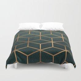 Dark Teal and Gold - Geometric Textured Gradient Cube Design Duvet Cover