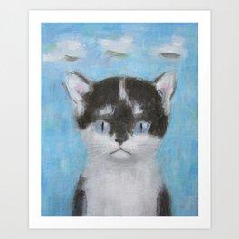 Kitten with Three Clouds Art Print