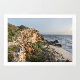 Secret Staircase Beach Landscape Mexico Seascape Caribbean Sea Ocean Cliffs Turtles Isla Island Art Print