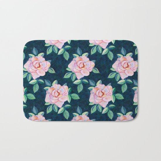 Simple Pink Rose Oil Painting Pattern Bath Mat