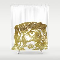 gold foil Shower Curtains featuring Faux Gold Foil Owl by Stacie Clarke