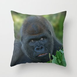 Silverback Got His Eye One Some More Leaves Throw Pillow