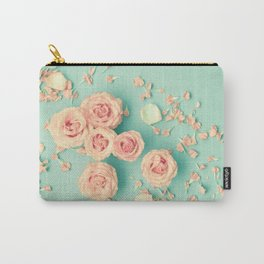 Composition of roses over mint Carry-All Pouch