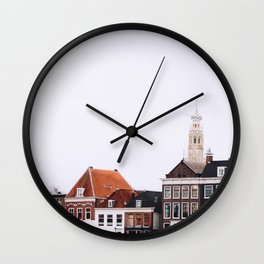 Iconic 'skyline' of Haarlem in winter | Haarlem historical city, the Netherlands | Urban travel photography Wall Clock