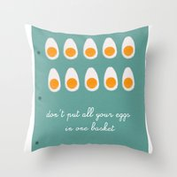 eggs Throw Pillows featuring eggs by Michela Buttignol