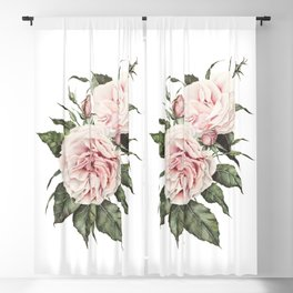 Pink Garden Roses Watercolor Blackout Curtain