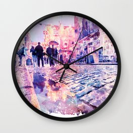Dublin Watercolor Streetscape Wall Clock
