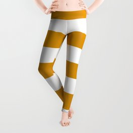 Harvest gold - solid color - white stripes pattern Leggings