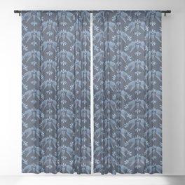 Indigo blue flower motif Japanese style. pattern. Sheer Curtain