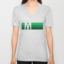 MN Logo - Green Stripes Unisex V-Neck