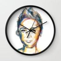 miley cyrus Wall Clocks featuring Miley Cyrus by caffeboy