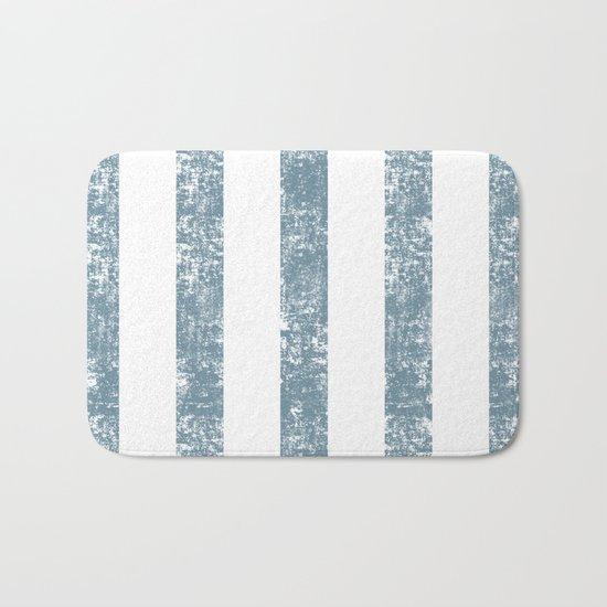 Maritime Navy Beach Pattern- Blue and White Stripes- Vertical - Bath Mat