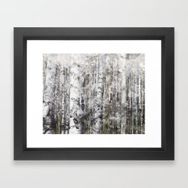 Abstract Silver Grunge Birch Framed Art Print