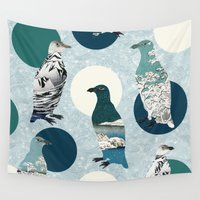 polka Wall Tapestries featuring Penguin Polka by Paula Belle Flores