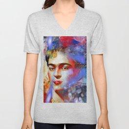 Frida Kahlo Painted Unisex V-Neck