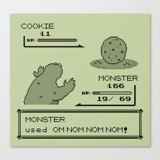 Cookiemon (Gameboy Original Version) Canvas Print