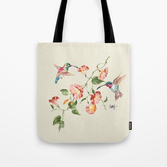 hummingbirds & morning glories Tote Bag