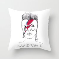 bowie Throw Pillows featuring Bowie by ☿ cactei ☿