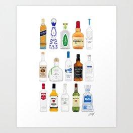Tequila, Whiskey, Vodka Bottles Illustration Art Print
