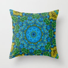 Lovely Healing Mandalas in Brilliant Colors: Blue, Gold, and Green Throw Pillow