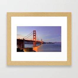 Golden Gate Bridge at dusk. Framed Art Print