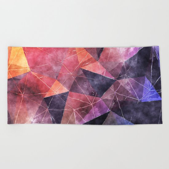 In the deep of the earth- Abstract colorful triangle watercolor pattern Beach Towel