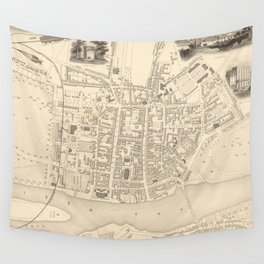 Vintage Map of Perth Scotland (1851) Wall Tapestry