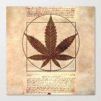 marijuana Canvas Prints featuring vitruvian marijuana by Emekli Astronot