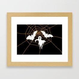 Bats and Ghost white - black color Framed Art Print