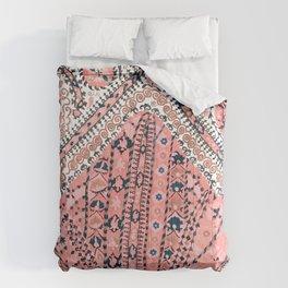 Light Pink Wildflower Sunshine III // 18th Century Colorful Pinkish Dusty Blue Gray Positive Pattern Comforters