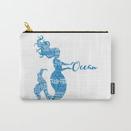 Save the Ocean Mermaid - Word Cloud Blue Carry-All Pouch