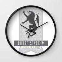 house stark Wall Clocks featuring House Stark Sigil V2 by P3RF3KT