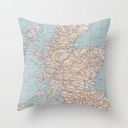 Vintage Map of Scotland (1943) Throw Pillow