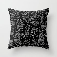 Classic Black Tattoo Pattern  Throw Pillow