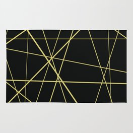 Golden lines on black Rug